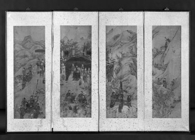 Gathering for a Tiger Hunt, 18th century. Ink and light color on paper, Each panel (exclusive mounting): 40 1/2 x 12 3/4 in. (102.9 x 32.4 cm). Brooklyn Museum, Gift of John M. Lyden, 83.169.15. Creative Commons-BY