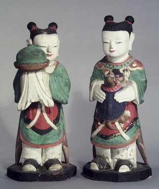 Boy Attendants (Dong-ja), Pair of Figures, 18th century. Polychromed wood, 83.174.1: 19 7/8 x 3 1/2 in. (50.5 x 8.9 cm). Brooklyn Museum, Gift of Dr. and Mrs. Stanley L. Wallace, 83.174.1-.2. Creative Commons-BY