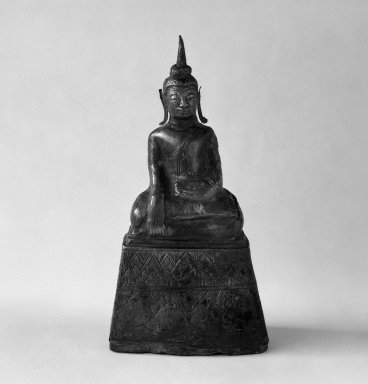 Seated Buddha Shakyamuni, 17th century. Wood and silver, H: 5 1/8 in. (13 cm). Brooklyn Museum, Gift of Dr. Joel Canter, 83.181.13. Creative Commons-BY