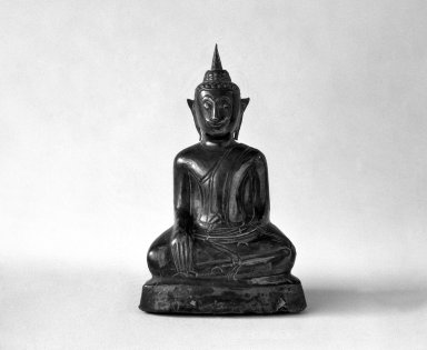 Ayudhya Buddha Image, 2 of 3, 17th century. Wood and silver, 3 7/8 in. (9.8 cm). Brooklyn Museum, Gift of Dr. Joel Canter, 83.181.14. Creative Commons-BY
