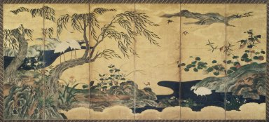 Attributed to Kano Shôei (Japanese, 1519-1592). Birds and Flowers, late 16th century. Ink, color, gold leaf and gold fleck on paper, folded: 69 x 25 1/2 in. (175.3 x 64.8 cm). Brooklyn Museum, Gift of Dr. and Mrs. John Fleming, 83.183.1. Creative Commons-BY