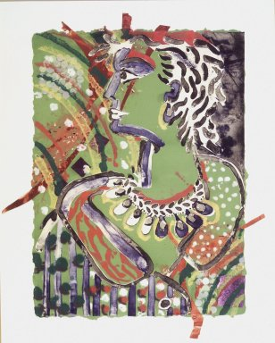 Robert Kushner (American, born 1949). Rhoda VIII 3, 1982. Lithographcollage with fabric and sequins, 38 1/2 x 27 3/4 in. (97.8 x 70.5 cm). Brooklyn Museum, Frank L. Babbott Fund, 83.225. Robert Kushner