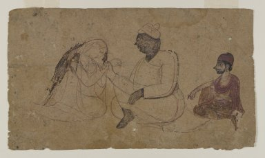 Indian. Drawing of Three Seated Figures, ca. 1750. Ink and color on paper, sheet: 3 3/4 x 8 1/4 in.  (9.5 x 21.0 cm). Brooklyn Museum, Gift of Mr. and Mrs. J. Gordon Douglas III, 83.234.1