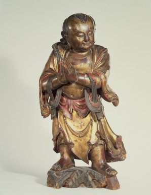 Altar Attendant, 1368-1644. Gilt and polychromed wood, 26 x 13 1/2 in. (66 x 34.3 cm). Brooklyn Museum, Gift of Dr. David Kinne, 83.238. Creative Commons-BY