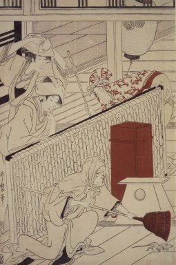 Kitagawa Utamaro (Japanese, 1753-1806). Yoshiwara in New Year, ca. 1798. Woodblock print, a: 14 3/4 x 9 3/4 in. (37.2 x 24.2 cm). Brooklyn Museum, Gift of Herbert Libertson, 83.240a-c