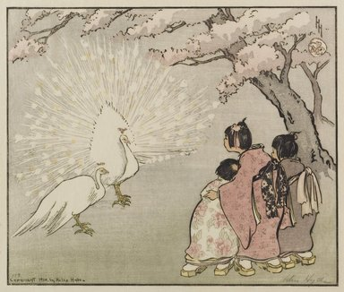Helen Hyde (American, 1868-1919). White Peacock, 1914. Color woodcut on cream, thin, slightly textured laid paper, Other (Folder): 14 1/4 x 19 5/8 in. (36.2 x 49.9 cm). Brooklyn Museum, Gift of Mr. and Mrs. Peter P. Pessutti, 83.244.3