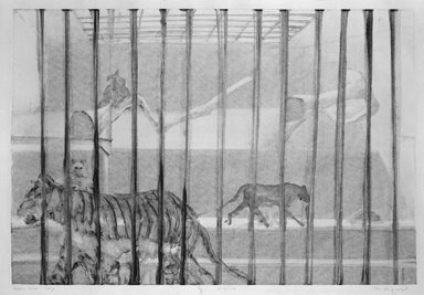 Michael Mazur (American, 1935-2009). Cage-Bronx Zoo, February 14, 1974. Monotype-cognate impression, Sheet: 23 3/4 x 31 1/2 in. (60.3 x 80 cm). Brooklyn Museum, Gift of Mary Frank, 83.259.4. © Mary Frank