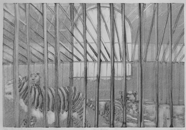 Michael Mazur (American, 1935-2009). Cage-Central Park Zoo, February 14, 1974. Monotype-cognate impression on paper, sheet: 23 3/4 x 31 1/2 in. (60.3 x 80 cm). Brooklyn Museum, Gift of Mary Frank, 83.259.7. © Mary Frank