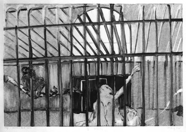 Michael Mazur (American, 1935-2009). Cage-Central Park Zoo, February 14, 1974. Monotype-cognate impression on paper, sheet: 23 3/4 x 31 1/2 in. (60.3 x 80 cm). Brooklyn Museum, Gift of Mary Frank, 83.259.9. © Mary Frank