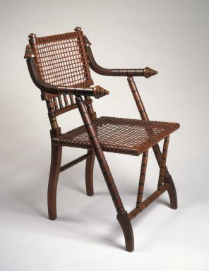 George Jacob Hunzinger (American, born Germany, 1835-1898). Armchair, ca. 1876. Walnut, steel mesh, fabric, 33 3/8 x 21 x 18 1/2 in. (84.8 x 53.3 x 47 cm). Brooklyn Museum, H. Randolph Lever Fund, 83.27. Creative Commons-BY