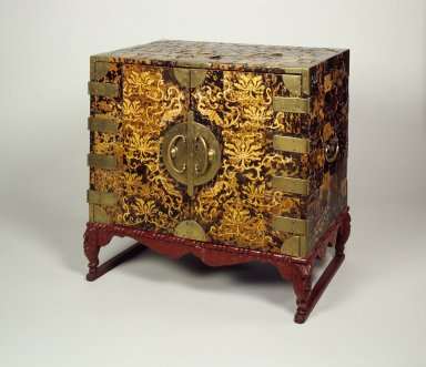 Cabinet with Drawers, early 20th century. Wood, tortoise shell, brass, red lacquer base, 24 1/8 x 25 3/16 x 15 11/16 in. (61.2 x 64 x 39.8 cm). Brooklyn Museum, Gift of Mrs. William R. Maris, 83.62.1. Creative Commons-BY