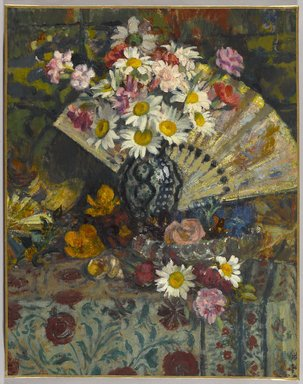 Georges Lemmen (Belgian, 1865-1916). Still Life with Fan, ca. 1907-1908. Oil on canvas, 24 3/8 x 19 1/8 in. (61.9 x 48.6 cm). Brooklyn Museum, Purchased with funds given by  William K. Jacobs, Jr., 83.70.1