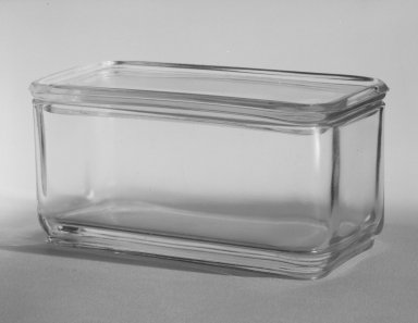 Brooklyn Museum: Rectangular Container with Lid, from 10-Piece Set of Kitchen Storage Glassware, Kubus