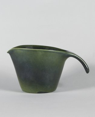 Mary Wright. Pitcher, ca. 1940. Earthenware with green glaze, 5 1/2 x 10 x 6 1/4 in. (14 x 25.4 x 15.9 cm). Brooklyn Museum, Gift of Paul F. Walter, 84.124.2. Creative Commons-BY