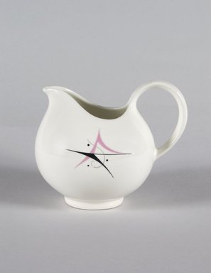 Eva Zeisel (American, born Hungary, 1906-2011). Cream Pitcher, Part of 19-Piece Dinner Service, Hallcraft Pattern, ca. 1952. Glazed earthenware, 4 3/8 x 5 1/2 x 4 in. (11.1 x 14.0 x 10.1 cm). Brooklyn Museum, Gift of Paul F. Walter, 84.124.37. Creative Commons-BY