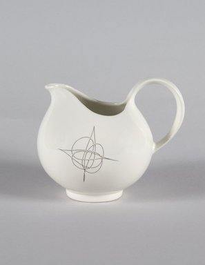 Eva Zeisel (American, born Hungary, 1906-2011). Cream Pitcher, Part of 19-Piece Dinner Service, Hallcraft Pattern, ca. 1952. Glazed earthenware, 4 1/4 x 5 1/4 x 4 in. (10.8 x 13.3 x 10.2 cm). Brooklyn Museum, Gift of Paul F. Walter, 84.124.38. Creative Commons-BY