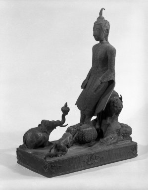 Buddha Venerated by the Animal Kingdom, 18th-19th century. Bronze, 15 x 5 1/2 in. (38.1 x 14 cm). Brooklyn Museum, Gift of Dr. Andrew Dahl, 84.133.4. Creative Commons-BY