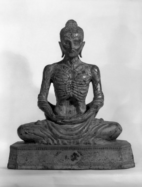 Emaciated Buddha, 19th-early 20th century. Copper alloy, lacquer (urushi), gold leaf, core material (possibly sand or clay), 29 1/2 x 25 x 13 1/4 in., 104 lb. (74.9 x 63.5 x 33.7 cm, 47.17kg). Brooklyn Museum, Gift of Dr. Andrew Dahl, 84.133.7. Creative Commons-BY