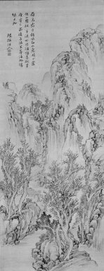 Noro Kaiseki (Japanese, 1747-1828). Landscape, early 19th century. Hanging scroll, ink and light color on silk, Image: 50 x 19 1/2 in. (127 x 49.5 cm). Brooklyn Museum, Gift of Dr. and Mrs. Richard Dickes, 84.134.1