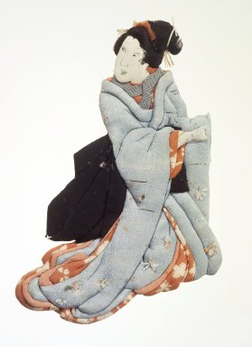 "Oshi-e (""Push Picture""), A Geisha (Female Entertainer), 19th century. Cloth and cardboard, 8 1/2 x 6 1/2 in. (21.6 x 16.5 cm). Brooklyn Museum, Gift of Dr. John P. Lyden, 84.139.21"