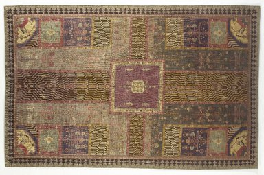 Carpet with Garden Design, 18th century. Wool pile on cotton foundation, symmetrical knot, 110 x 71 in. (279.4 x 180.3 cm). Brooklyn Museum, Bequest of Mrs. Joseph V. McMullan, gift of the Beaupre Charitable Trust in memory of Joseph V. McMullan, 84.140.16. Creative Commons-BY