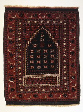 Bergama Type Prayer Carpet, ca. 1900. Wool, 53 x 40 in. (134.6 x 101.6 cm). Brooklyn Museum, Bequest of Mrs. Joseph V. McMullan, gift of the Beaupre Charitable Trust in memory of Joseph V. McMullan, 84.140.4. Creative Commons-BY