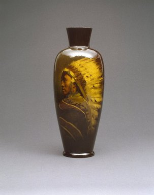 Grace Young (American, 1869-1947). Vase, Chief Shavehead, ca. 1899. Glazed earthenware, 15 1/2 x 6 x 6 in.  (39.4 x 15.2 x 15.2 cm). Brooklyn Museum, Gift of Mr. and Mrs. Jay Lewis, 84.176.4. Creative Commons-BY
