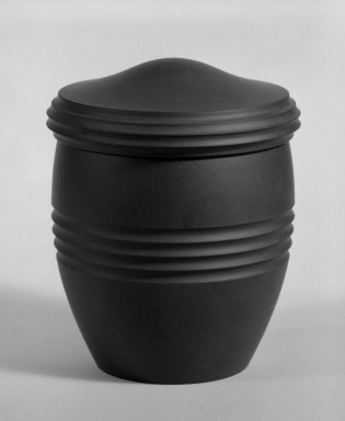 Keith Murray (English, born New Zealand, 1892-1981). Tobacco Jar with Lid, ca. 1933-1936. Earthenware and cork, Other: 4 1/4 x 3 1/2 in. (10.8 x 8.9 cm). Brooklyn Museum, Gift of Paul F. Walter, 84.178.6a-b. Creative Commons-BY