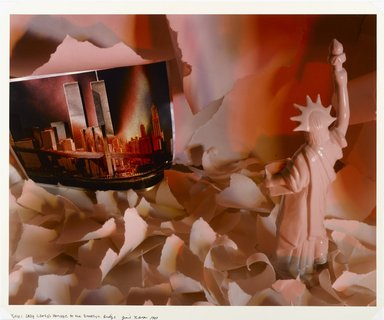 Gail le Boff (American, born 1950). Lady Liberty's Homage to the Brooklyn Bridge, 1983. Chromogenic photograph, Image: 18 1/8 x 22 7/8 in. (46.1 x 58.1 cm). Brooklyn Museum, Gift of the artist, 84.18.2. © Gail LeBoff