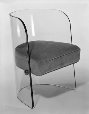 Louis Dierra. Armchair, ca. 1939. Glass, modern upholstery, metal fittings, 29 x 22 3/8 x 22 1/2 in. (73.7 x 56.8 x 57.2 cm). Brooklyn Museum, H. Randolph Lever Fund, 84.180. Creative Commons-BY