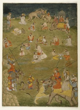 Indian. Intoxicated Mystics and Assorted Subjects, ca. 1775. Watercolor on paper with gold, sheet: 15 3/4 x 11 1/2 in.  (40.0 x 29.2 cm). Brooklyn Museum, Anonymous gift, 84.183