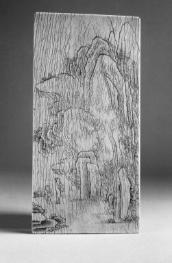 Ivory Table Screen, 16th-17th century. ivory and wood, 7 3/4 x 3 7/8 in. (19.7 x 9.8 cm). Brooklyn Museum, Gift of Stanley J. Love, 84.195.4. Creative Commons-BY
