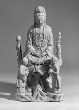Bodhisattva Guanyin, 17th-18th century. Dehua ware: glazed white porcelain, 9 1/2 x 4 3/4 x 3 1/2 in. (24.1 x 12.1 x 8.9 cm). Brooklyn Museum, Gift of Dr. Ralph C. Marcove, 84.198.22. Creative Commons-BY