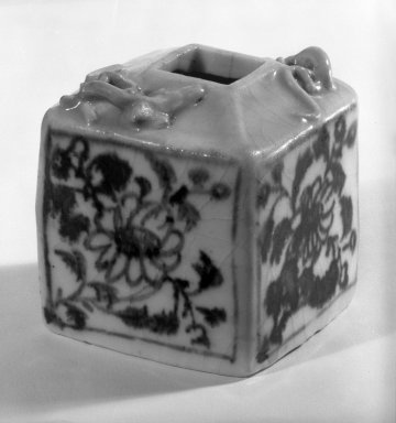 Blue-and-White Porcelain Writer's Coupe, 13th century. White porcelain, 2 1/2 x 2 1/4 in. (6.4 x 5.7 cm). Brooklyn Museum, Gift of Dr. Ralph C. Marcove, 84.198.7. Creative Commons-BY