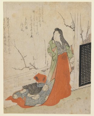 Totoya Hokkei (Japanese, 1780-1850). Surimono, Lady on a Terrace, ca. 1830. Woodblock print, 8 1/4 x 6 5/8 in. (21 x 16.8 cm). Brooklyn Museum, Gift of Mr. and Mrs. Peter P. Pessutti, 84.202.1