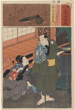 Utagawa Toyokuni II (Japanese, 1777-1835). Two Figures Outside an Engawa, From the series Mitate: Sanjuroku Kasen, ca. 1849. Woodblock print, 14 1/8 x 9 7/8 in. (35.9 x 25.1 cm). Brooklyn Museum, Gift of Mr. and Mrs. Peter P. Pessutti, 84.202.5