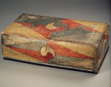 Box, 19th century. Painted and cut paper, on paper-mache, 4 x 8 x 13 1/4 in. (10.2 x 20.3 x 33.7 cm). Brooklyn Museum, Gift of Dr. Kenneth Rosenbaum, 84.203.10a-b. Creative Commons-BY