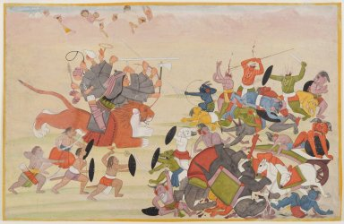 Indian. The Devi defeats Mahasura, Folio from a Dispersed Devi Mahatmya Series, ca. 1770-1780. Opaque watercolor and gold on paper, sheet: 6 3/4 x 10 9/16 in.  (17.1 x 26.8 cm). Brooklyn Museum, Gift of Kaywin Lehman Smith, 84.205