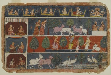 Indian. Page from a Dispersed Bhagavata Purana Series, ca. 1680. Opaque watercolor on paper, 9 1/8 x 14 in. (23.2 x 35.6 cm). Brooklyn Museum, Gift of Dr. and Mrs. Robert Walzer, 84.206.2