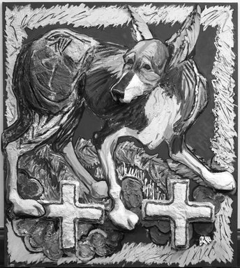 Marcia Gygli King (1931-2011). Dog with Crosses, 1983. Oil, paper, styrofoam, and modeling paste on canvas, 72 1/4 x 63 3/4 in. (183.5 x 161.9 cm). Brooklyn Museum, Gift of Dita Naylor-Leyland in memory of Margarita Grace Phipps, 84.212. © Estate of Marcia Gygli King