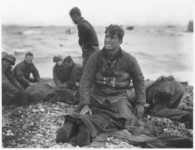 Walter Rosenblum (American, 1919-2006). D Day Morning, Omaha Beach, 1944, 1944. Gelatin silver photograph on white wove paper, sheet: 11 x 14 in.  (27.9 x 35.6 cm); image: 10 x 13 1/2 in. (25.4 x 34.3 cm). Brooklyn Museum, Gift of Lisa Rosenblum, 84.236.5. © Rosenblum Archive