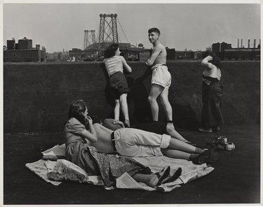 "Walter Rosenblum (American, 1919-2006). ""Rooftop"" Pitt Street, New York, 1938. Gelatin silver photograph on white wove paper, sheet: 11 x 14 in.  (27.9 x 35.6 cm); image: 10 1/2 x 13 1/2 in. (26.7 x 34.3 cm). Brooklyn Museum, Gift of Lisa Rosenblum, 84.236.7. © Rosenblum Archive"
