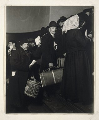 Lewis Wickes Hine (American, 1874-1940). Climbing into the Promised Land, Ellis Island, 1908. Gelatin silver photograph, 13 5/16 x 11 in. (33.8 x 27.9 cm). Brooklyn Museum, Gift of Walter and Naomi Rosenblum, 84.237.1