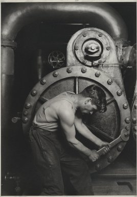 Lewis Wickes Hine (American, 1874-1940). Power House Mechanic, 1920-1921. Gelatin silver photograph, 13 3/4 x 9 3/4in. (34.9 x 24.8cm). Brooklyn Museum, Gift of Walter and Naomi Rosenblum, 84.237.7