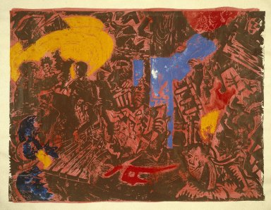 Jorg Immendorff (German, born 1945). Folgen (Obey/Follow), plate 4 from Cafe Deutschland Gut, 1983. Linocut with hand coloring and pencil border, Sheet: 71 1/8 x 90 3/16 in. (180.6 x 229 cm). Brooklyn Museum, Designated Purchase Fund, 84.241. © Estate of Jorg Immendorff