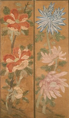 Flowers, 19th century. Ink and light color on paper, mounted on cloth, 69 3/8 x 76 in.  (176.2 x 193.0 cm). Brooklyn Museum, Gift of Robert S. Anderson, 84.244.11