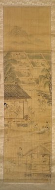 Kim Yun-bo (Korean). Farming, late 19th-early 20th century. Ink and light color on silk, Image: 47 13/16 x 13 1/16 in. (121.4 x 33.2 cm). Brooklyn Museum, Gift of Robert S. Anderson, 84.244.9