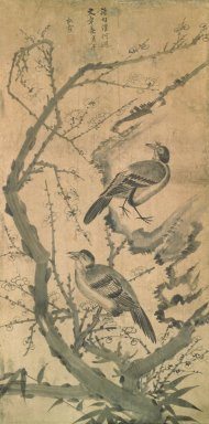 Songha (Korean). Flowers and Birds, late 19th-early 20th century. Ink and light color on paper, Overall: 54 x 21 3/4 in. (137.2 x 55.2 cm). Brooklyn Museum, Gift of Dr. and Mrs. John P. Lyden, 84.261.2