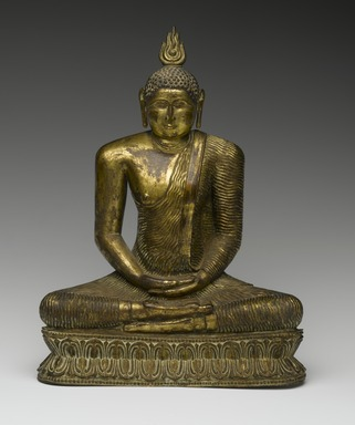 Seated Buddha, 18th century. Gilt bronze, 9 1/2 x 7 1/4 x 3 1/2 in. (24.1 x 18.4 x 8.9 cm). Brooklyn Museum, Gift of Dr. Bertram H. Schaffner, 84.267.1. Creative Commons-BY