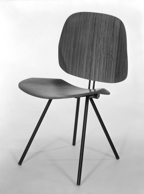 Osvaldo Borsani (Italian, born Switzerland, 1911-1985). Folding Chair (Model S88), ca. 1955. Laminated teak covered plywood and steel, 31 1/8 x 17 3/4 x 19 7/8 in. (79.1 x 45.1 x 50.5 cm). Brooklyn Museum, Gift of Barry Friedman, 84.275.1. Creative Commons-BY